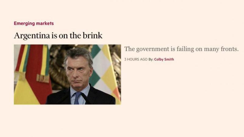 """Para el Financial Times, Argentina está en la """"cornisa"""""""