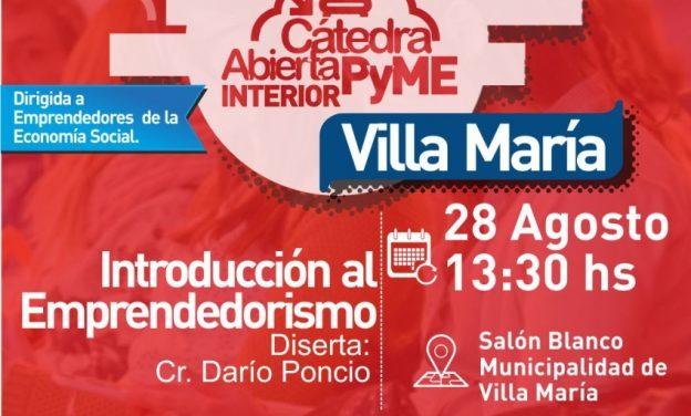 Villa María: Dictarán una capacitación para emprendedores de la economía social